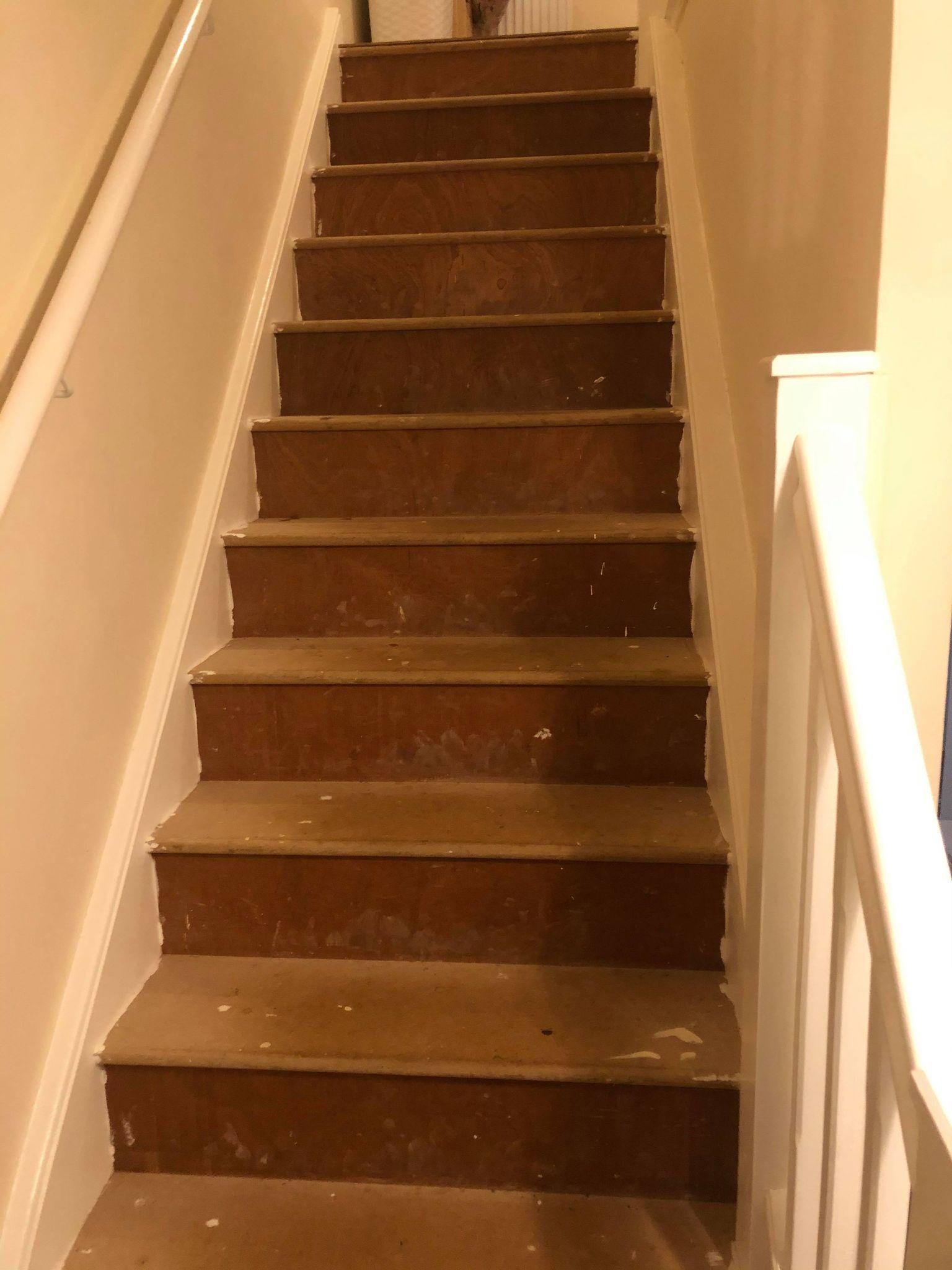 Led lights onto oak stairs